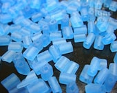 REC5MLBLU / 15 Gm / 5 x 3 x 2 mm - Frosted Cobalt Blue Rectangles Czech Glass Seed Beads