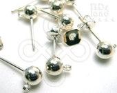 clearance -50% / D211SP / 40Pc / Ball Stud D5mm - Silver Plated Metal Ball Ear Studs with Loop Earrings Findings