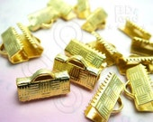 A403GD / 12 Pc / 13 x 8 mm - Gold Plated Flat Fastener Crimp / Connector Findings