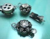 BULK -10% ( B618SA ) 10 Sets / Dia. 10 mm - Antique Silver Plated 1 Strand Box Round Filigree Clasp Findings