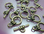 B318BS / 6 Sets - Antique Brass Basic Toggle Clasp / Rod n Ring Findings