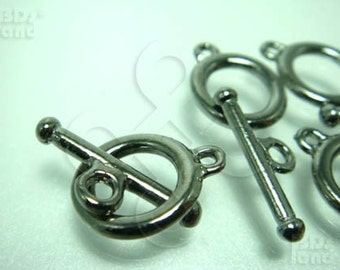 B310BK / 3 Sets / Inner Ring Dia. 8 mm / Bat 19 mm - Gunmetal Basic Style Toggle Clasp / Rod N Ring Findings