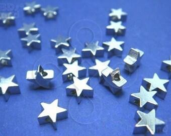 last stock / G102RH / 24Pc / 6x6x3.5mm - Rhodium Plated Star Shape Metal Beads / Charms