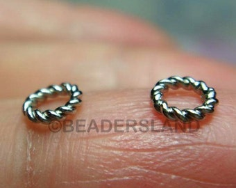 clearance -20% / C106RX / 5Gm *65Pc / Diameter 5mm - Rhodium Plated Twisted Rope Closed Rings Findings
