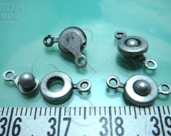 last stock / B401SA  / 6sets / Diameter 7mm x 4mm - Antique Silver Plated Button-On / Snap-On Clasp Findings.