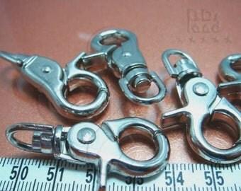 BULK -10% / Y122RH / 10Pc / 43x23mm - Rhodium Plated Chunky Triggered Keychain Findings