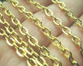 last 7packs / T206GD / 1 meter / 4.6 x 3.2 mm - Gold Plated Flattened Oval Cable Chain