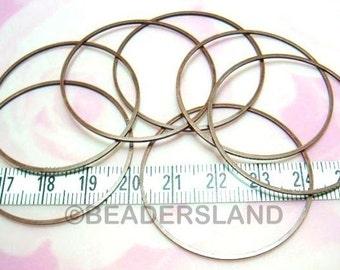 BULK -10% / C113BZ / 60 Pc / Dia. 40 mm - Antique Copper Plated Square Profile Closed Ring