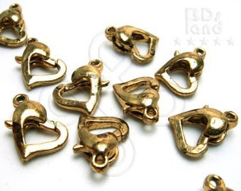 B128GA  / 6 Pc / 12.5 x 10 mm - Antique Gold Plated Color Heart Shape Lobster Clasp Findings