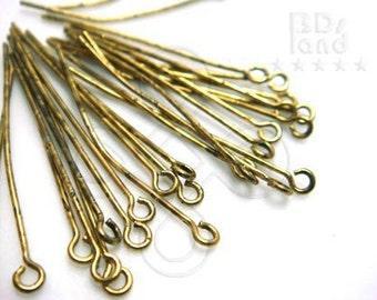 BULK -10% / E201GA / 40 Gm ( approx 520 Pc ) 1.0 inch x 23 gauge - Antique Gold Plated Eye Pins ( Small Eye Loop ) Findings