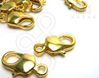 clearance sales -40% / B121GD / 36 Pc / 16 x 7 mm - Gold Plated Rectangle Lobster / Parrot Clasps Findings