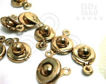 B402GA / 6Sets / Diameter 10mm - Antique Gold Plated 10mm Button Clasps / Snap-On Button Clasps Findings.