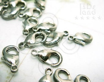 sales -30% / B138RH / 24Pc / 10 x 6 mm - Rhodium Plated Lobster Clasps / Parrot Hook Findings ( XS )
