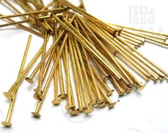 closed OUT / E128GDHD / 100Gm *approx 970Pc / 1.0inchx20gauge - Gold Plated Thick Head Pins