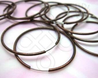 last stocks / D510BZ / 12Pc / Dia. 30 mm - Antique Copper Plated Smooth Hoop Earrings / Ear Loop Findings