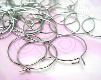 BULK -10% ( D601RH ) 120 Pc - Dia. 15 mm / 23 gauge - Rhodium Color Hoop Earrings / Earwires Findings