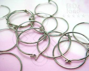 BULK -10% ( D606RH ) 120 Pc / Dia. 14 mm / 23 gauge - Rhodium Plated Hoop Earrings / Ear Wires Findings ( XS )