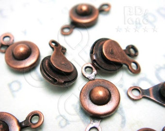 last stock / B401BZ / 6Sets / Diameter 7x4mm - Antique Copper Plated Button-On / Snap-On Clasps Findings