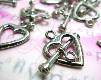 clearance -50% / B317RH / 12Sets - Rhodium Plated Heart Shape Toggle Clasps / Rod N Ring Findings