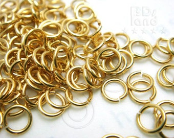 C217GD / 6 Gm ( approx 140 Pc ) - Dia. 5 mm / 21 gauge - GOLD Plated Jump Rings / Open Rings Findings