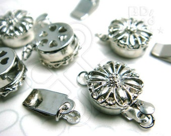 Clearance Sales -50% / B616RH / 8Sets / Diameter 12mm - Rhodium Plated 12mm Boxed Filigree Clasps Findings.