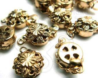 sale -20% / B618GA / 4Sets / Diameter 10mm - Antique Gold Plated 1 Strand Flower Filigree Box Clasp Findings