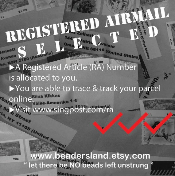 REgistered AIRMAIL selected