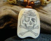 "Scrimshaw  "" Skull & Bones "" Fossil Mammoth Ivory - Jolly Roger - Metalic Copper Leather Cord - Hand Carved Bone Skull Beads Necklace"