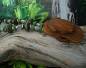 """Small """" Frog or Toad on Slipper """" Reptile Hand Carved Peach Wood Pendant 2 1/8 in. on Raku Greek Ceramic Thailand Silver Beaded Necklace"""