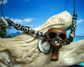 Hand Carved Wood Skull and Bones, Tibetan Agate Eye Beads, Greek Ceramic, Leather Cord Necklace