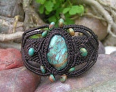 Natural Turquoise Gemstone Micro Macrame / Bracelet - Hand Made, Eco-friendly, bees waxed Organic Dark Brown Hemp Cord