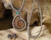 Fossil Ammonite Crystallized Prehistoric Shell Pendant / Necklace - Micro Macrame Eco-friendly, organic bees waxed Hemp Cord