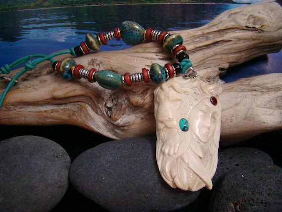 Lion Animal Goddess Spirit - Hand Carved Antler Pendant Turquoise Garnet Gemstone .925 Silver Bail, Ceramic Heart Bead and Leather Necklace