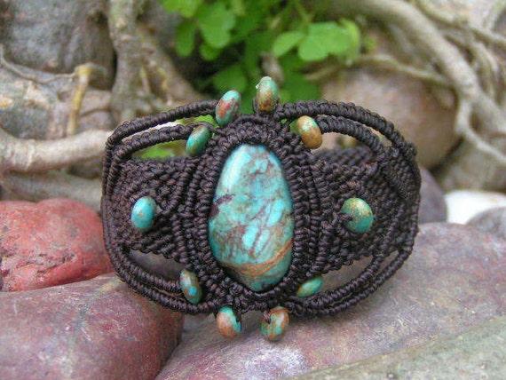 Natural Turquoise Gemstone Micro Macrame / Bracelet - Hand Made, Eco-friendly, bees waxed Organic Dark Brown Hemp Cord