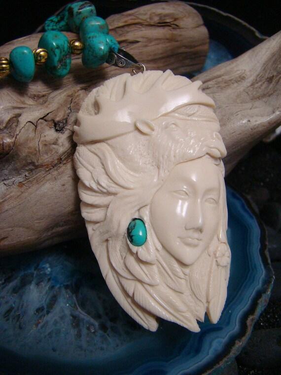 Moose Animal Spirit Goddess Hand Carved Antler Pendant, Turquoise Gemstones & Brass metal Beads, Cotton Cord Necklace