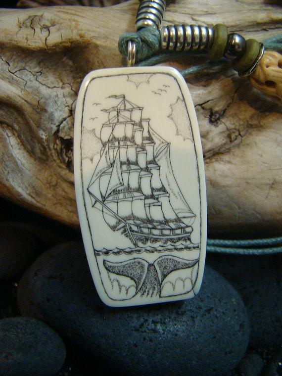 Items Similar To Scrimshaw Schooner Ship Fossil Mammoth