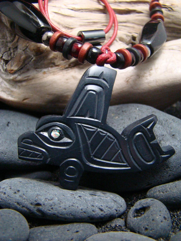 Argillite Haida Killer Whale Orca Pendant