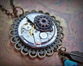Feather Necklace Steampunk Jewelry Clockworks Vintage Watch Movement