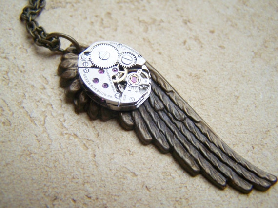 Wing Necklace Vintage Watch Movement Brass Clockworks
