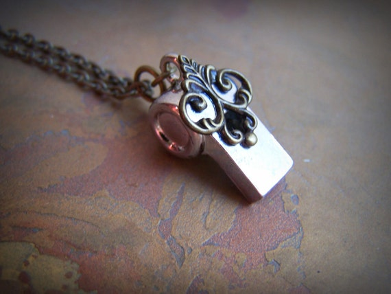 Whistle Necklace Steampunk Jewelry Tiny Whistle Brass Filigree
