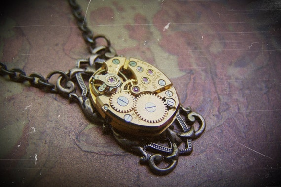 Steampunk Necklace RARE Gold Watch Movement Clockworks