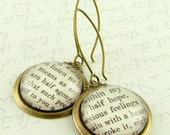 Persuasion by Jane Austen 'I Am Half Agony Half Hope' Literary Quote Earrings - English Literature Book Quote Jewelry