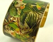 Audubon's Parrot Bird Brass Cuff Bracelet - Ornithology The Extinct Carolina Parakeet - Unique Gifts Under 40