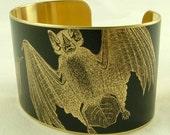 Gothic Vampire Bat Jewelry - Anatomical Black Brass Cuff Bracelet