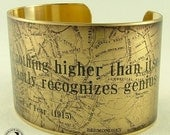 Map of at Baker Street - Mediocrity Knows Nothing - Sherlock Holmes Literary Brass Cuff Bracelet