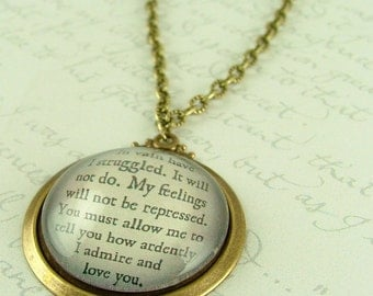 Jane Austen Literary Lovers Book Quote Glass Necklace - Pride and Prejudice - Gifts For Wife Her - Gifts Under 30