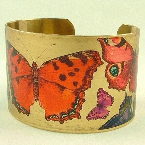Butterfly Brass Cuff Bracelet - Flamboyant Flying Lepidoptera Beauties