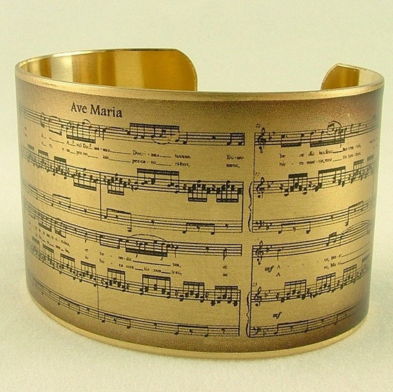 Sheet Music Art Jewelry - Schubert's Ave Maria Musical Handmade Brass Cuff Bracelet - Unique Valentines Gifts For Wife