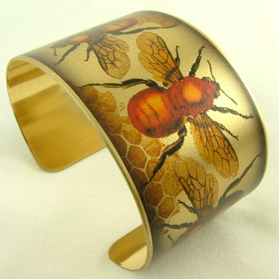 Humble Bumble Honey Bee Brass Cuff Bracelet - Charles Darwin Insect Jewelry