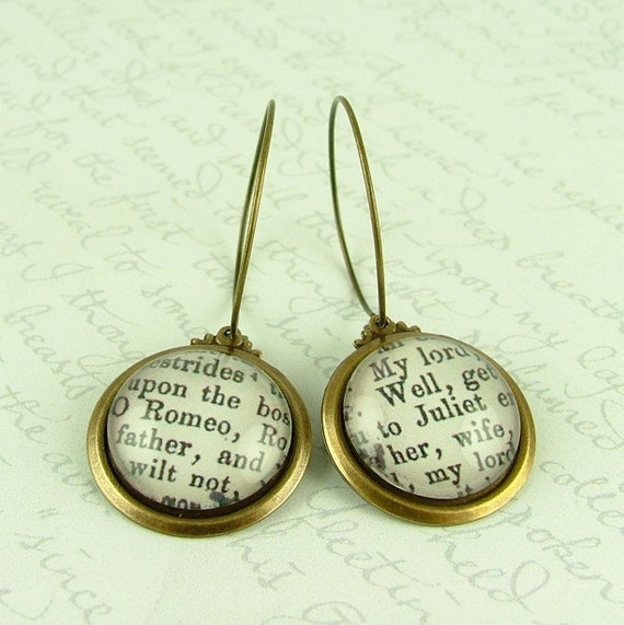 Shakespeare Brass Earrings - Romeo and Juliet Literary Quote Jewelry